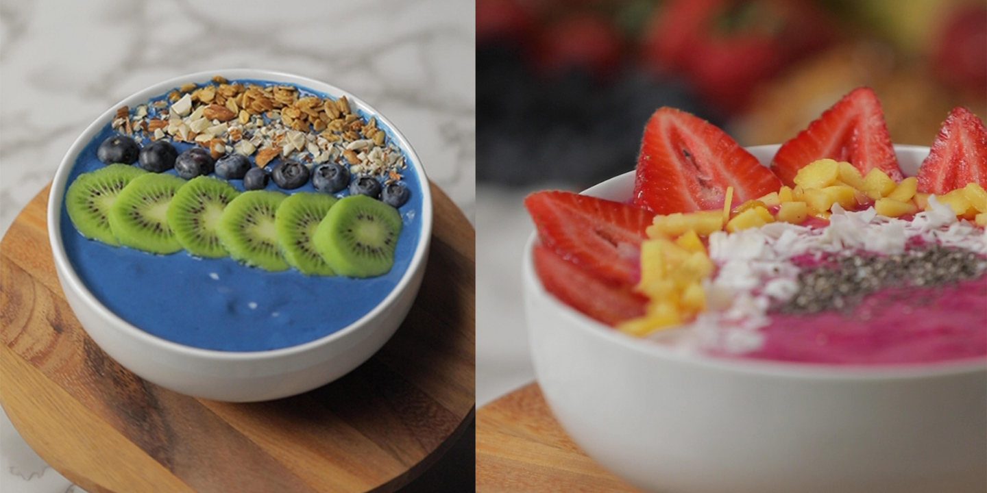 smoothie bowls side by side